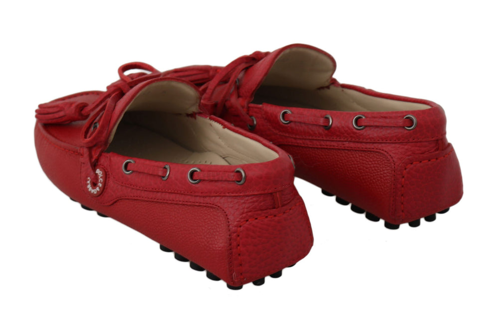 Load image into Gallery viewer, Red Leather Flat Loafers Moccasin Mens Shoes