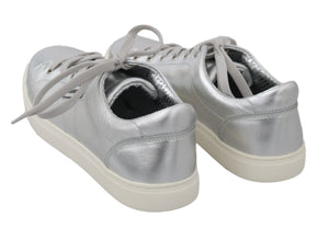 Load image into Gallery viewer, Silver Leather Mens Casual Sneakers