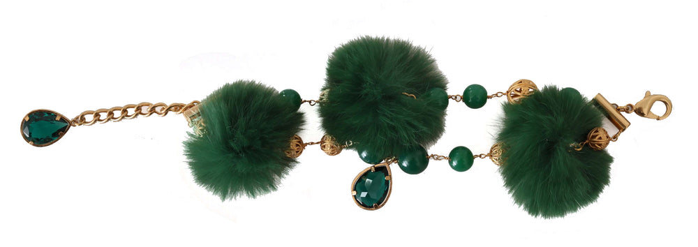 Load image into Gallery viewer, Bracelet Chain Gold Brass Green Crystal Charm Fur