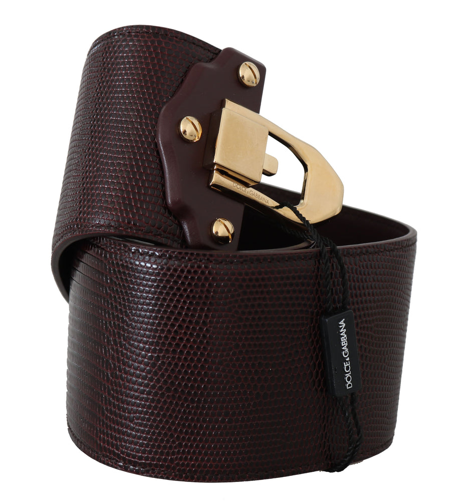 Load image into Gallery viewer, Bordeaux Leather Iguana Print Gold Buckle Belt