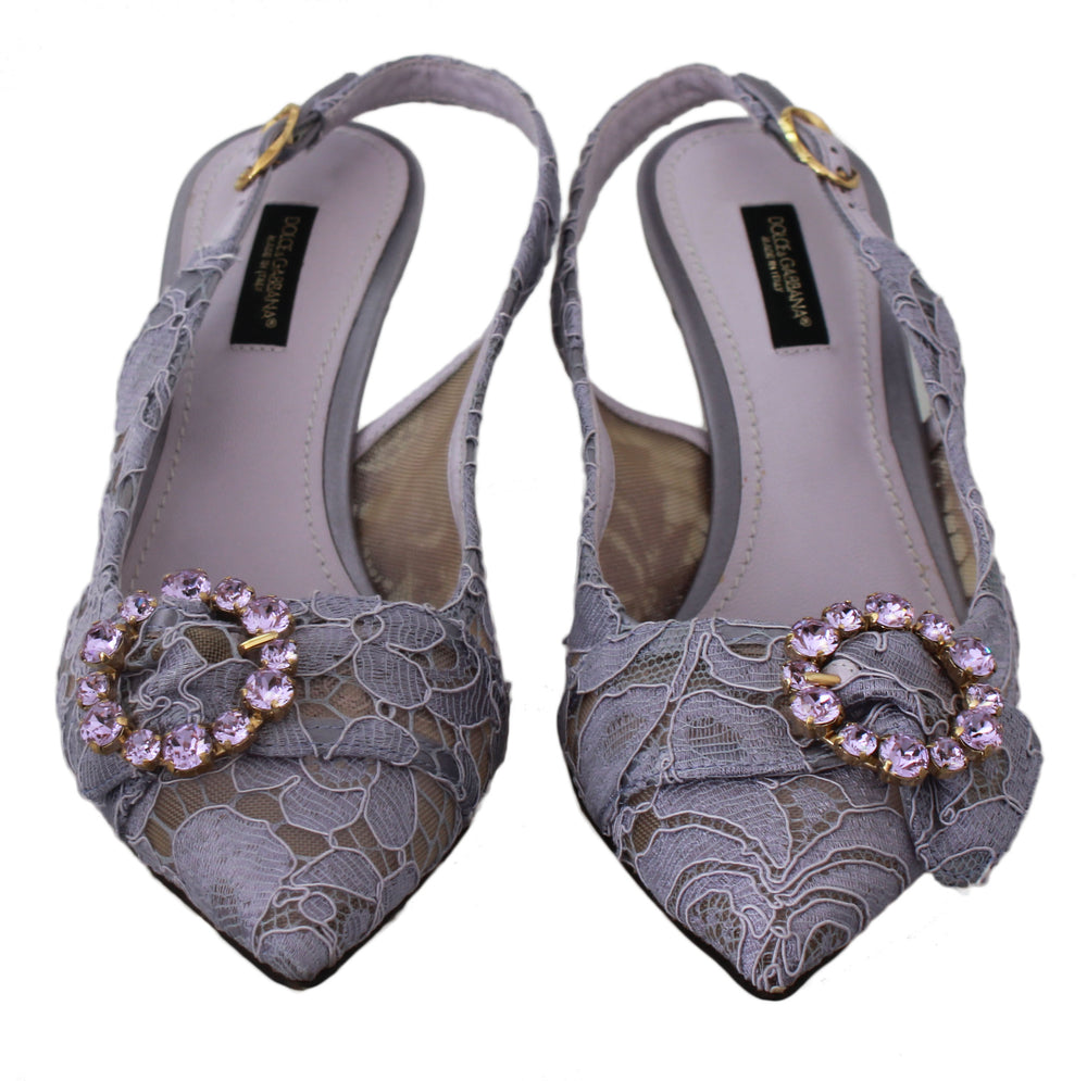 Load image into Gallery viewer, Purple Lace Crystal Slingbacks Heels Shoes
