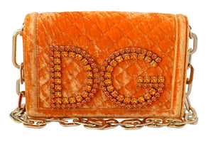 Load image into Gallery viewer, DG GIRLS Clutch Orange Crystal Party Evening Purse