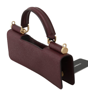 Load image into Gallery viewer, Maroon Leather Push Button Accessory  Micro Bag