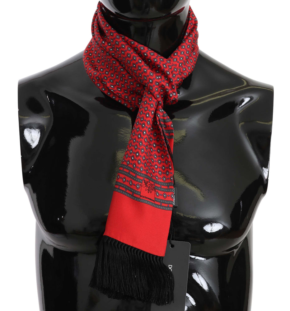 Red Dot Print Silk Tassel Wrap Shawl Scarf