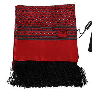Load image into Gallery viewer, Red Dot Print Silk Tassel Wrap Shawl Scarf