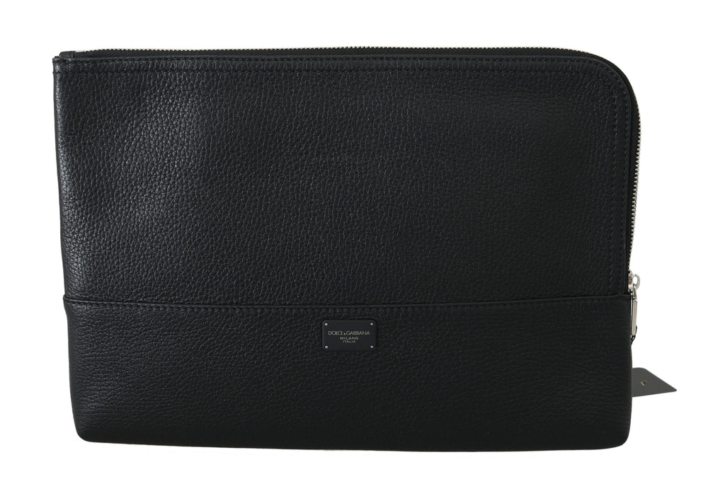Black Zipper Document Hand Purse Pouch Bag
