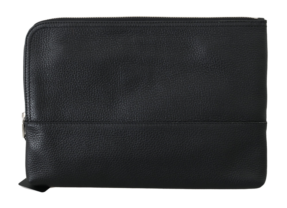 Load image into Gallery viewer, Black Zipper Document Hand Purse Pouch Bag