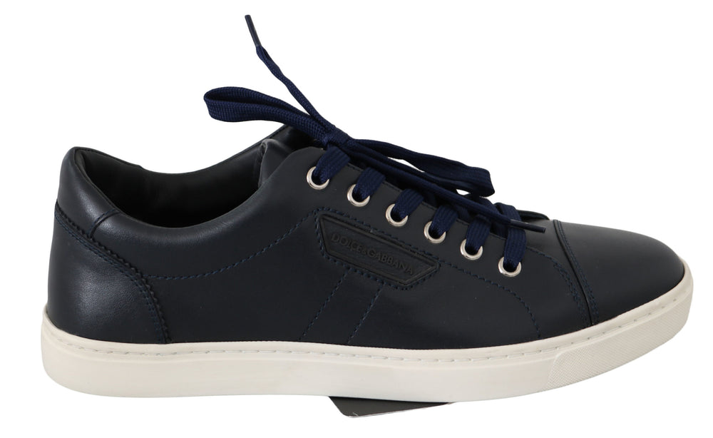 Blue Logo Leather Casual Mens Sneakers