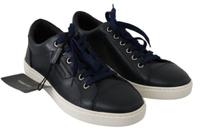 Load image into Gallery viewer, Blue Logo Leather Casual Mens Sneakers