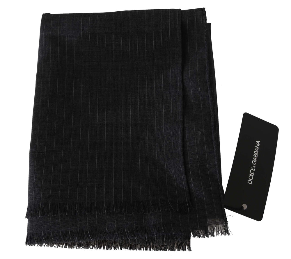 Load image into Gallery viewer, Gray 100% Wool Striped Pattern Wrap Scarf