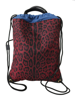 Load image into Gallery viewer, Red Leopard Adjustable Drawstring Women Nap Sack Bag