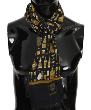 Load image into Gallery viewer, Blue Modal Cashmere Cocktail Print Mens Scarf