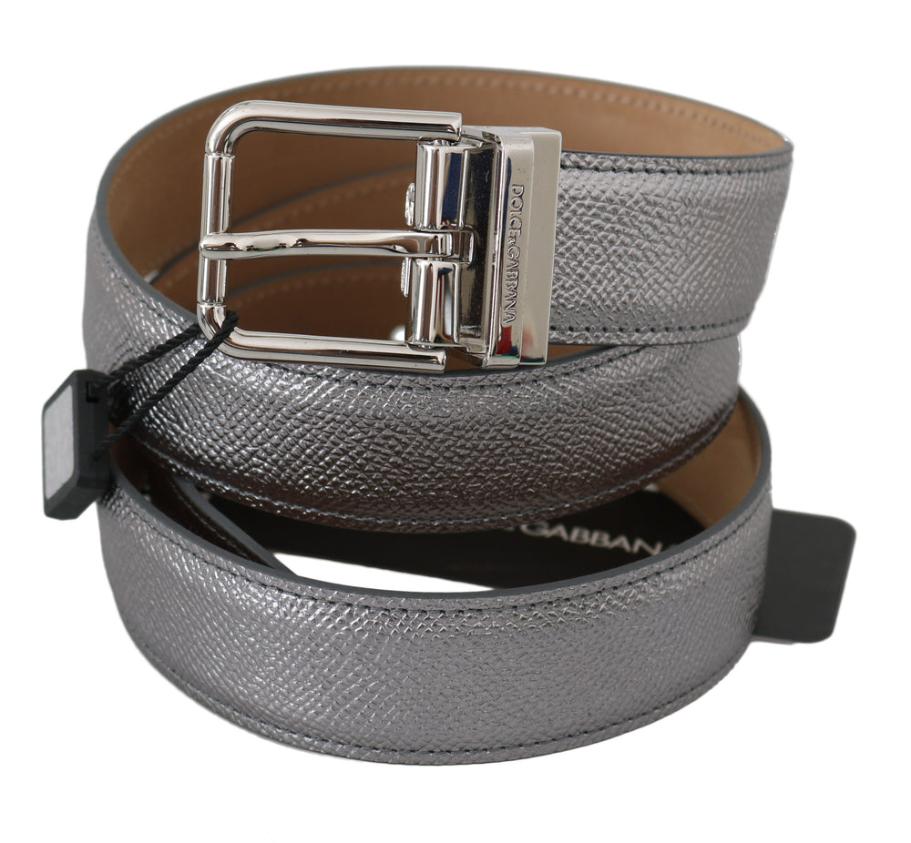 Silver Leather Shiny Metal Buckle Belt
