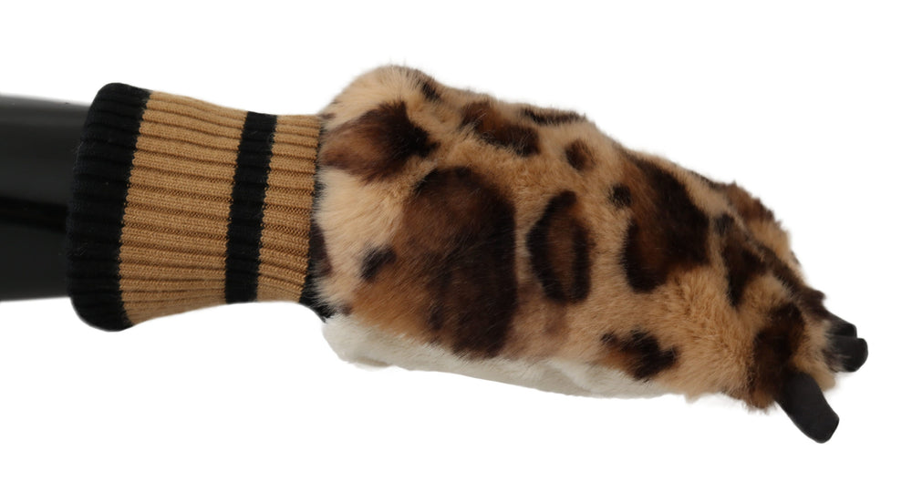 Brown Leopard Paw Fur Knitted Elastic Wrist Gloves