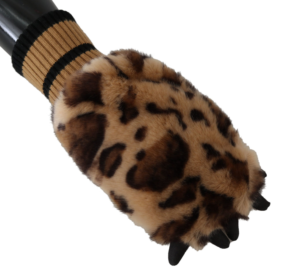 Load image into Gallery viewer, Brown Leopard Paw Fur Knitted Elastic Wrist Gloves