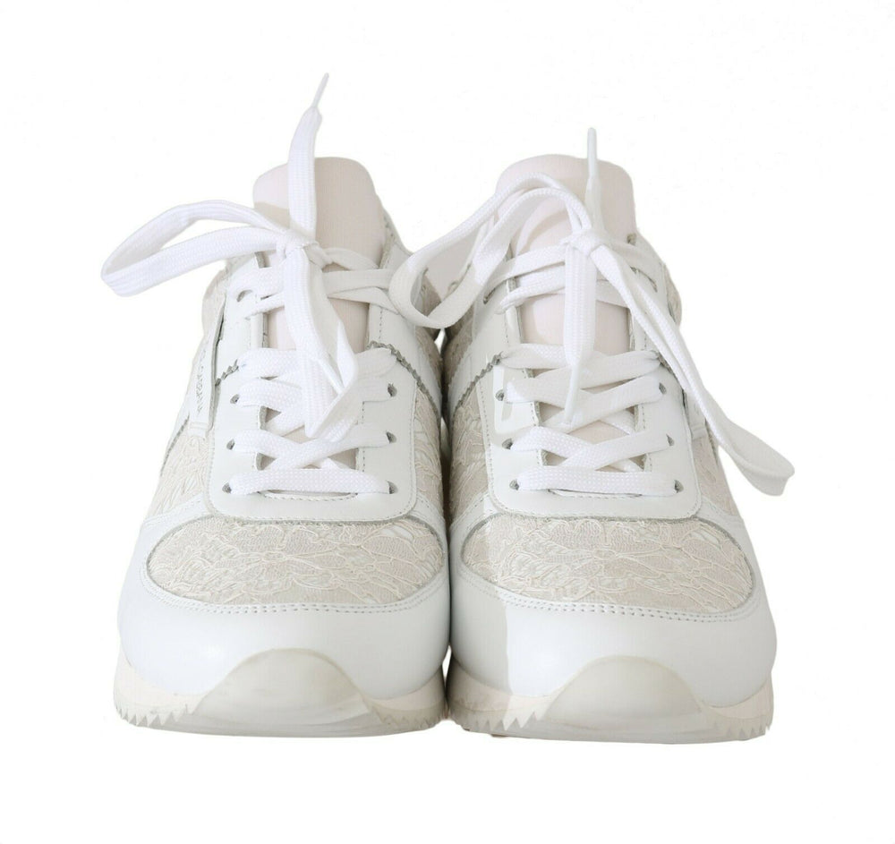Load image into Gallery viewer, White Floral Lace Leather Sneakers