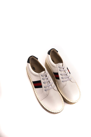 Load image into Gallery viewer, White Navy Sneakers