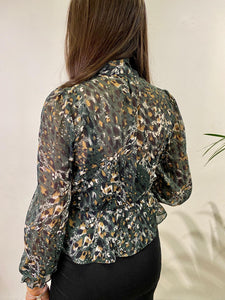Chiffon Animal Print Blouse