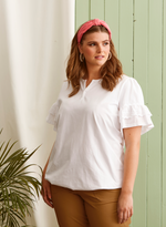 Load image into Gallery viewer, Zhenzi White T Shirt with Sleeve Detail