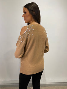 Lindsay Cold Shoulder Jewel Top