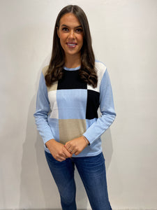 Sunday Baby Blue Colour Block Pullover