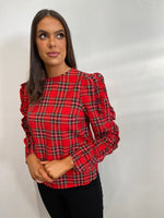 Load image into Gallery viewer, Karina Red Tartan Long Sleeve Top