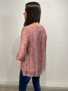 Rose Floral V Neck Blouse