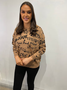 Larsa Brown 'Paris' Jumper