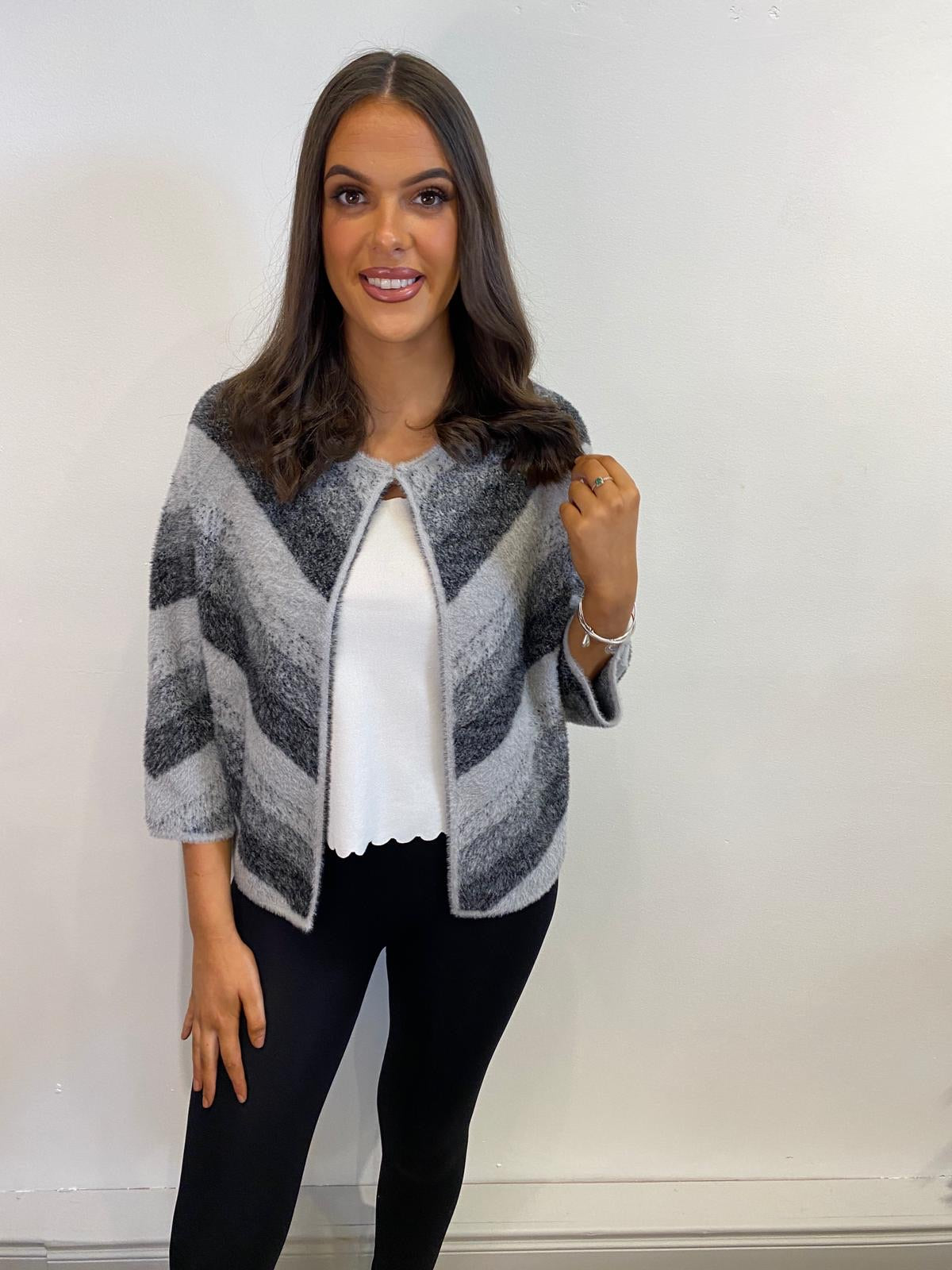 Lulu Grey Striped Cardigan