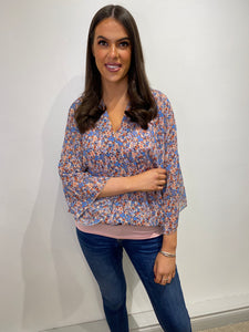 Nicky Floral Faux Wrap Top
