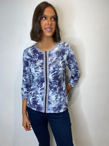 Louise Navy Full Zip Blouse