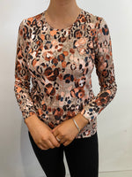 Load image into Gallery viewer, Orange animal print top