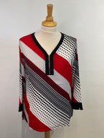 Load image into Gallery viewer, Kirsi Striped Zip Neck Blouse