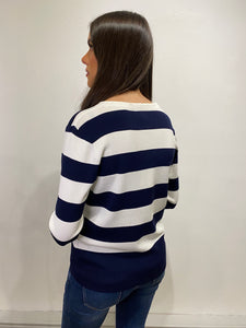 Hazel Navy Stripe Cardigan