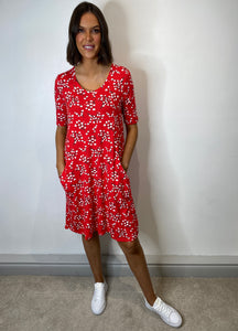 Farah Red Floral Tunic Dress