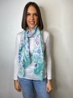 Load image into Gallery viewer, Vera Green Floral Effect Scarf