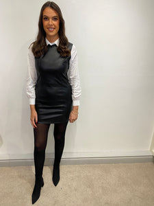 Alison Black Leather Shirt Dress