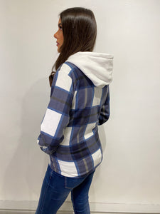 Sarah Navy Hooded Shacket