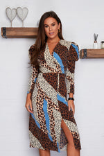 Load image into Gallery viewer, Alana Puff Shoulder Wrap Midi Dress