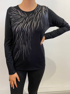 Black Top with Silver Swirls