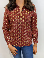 Load image into Gallery viewer, Louisa Gold Fleck Rust Blouse