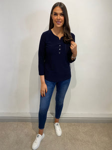 Lisa Navy Button Front Blouse