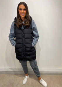 Mia Sleeveless Black Puffer Jacket
