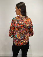 Load image into Gallery viewer, Nora Orange Floral Frill V Neck Blouse