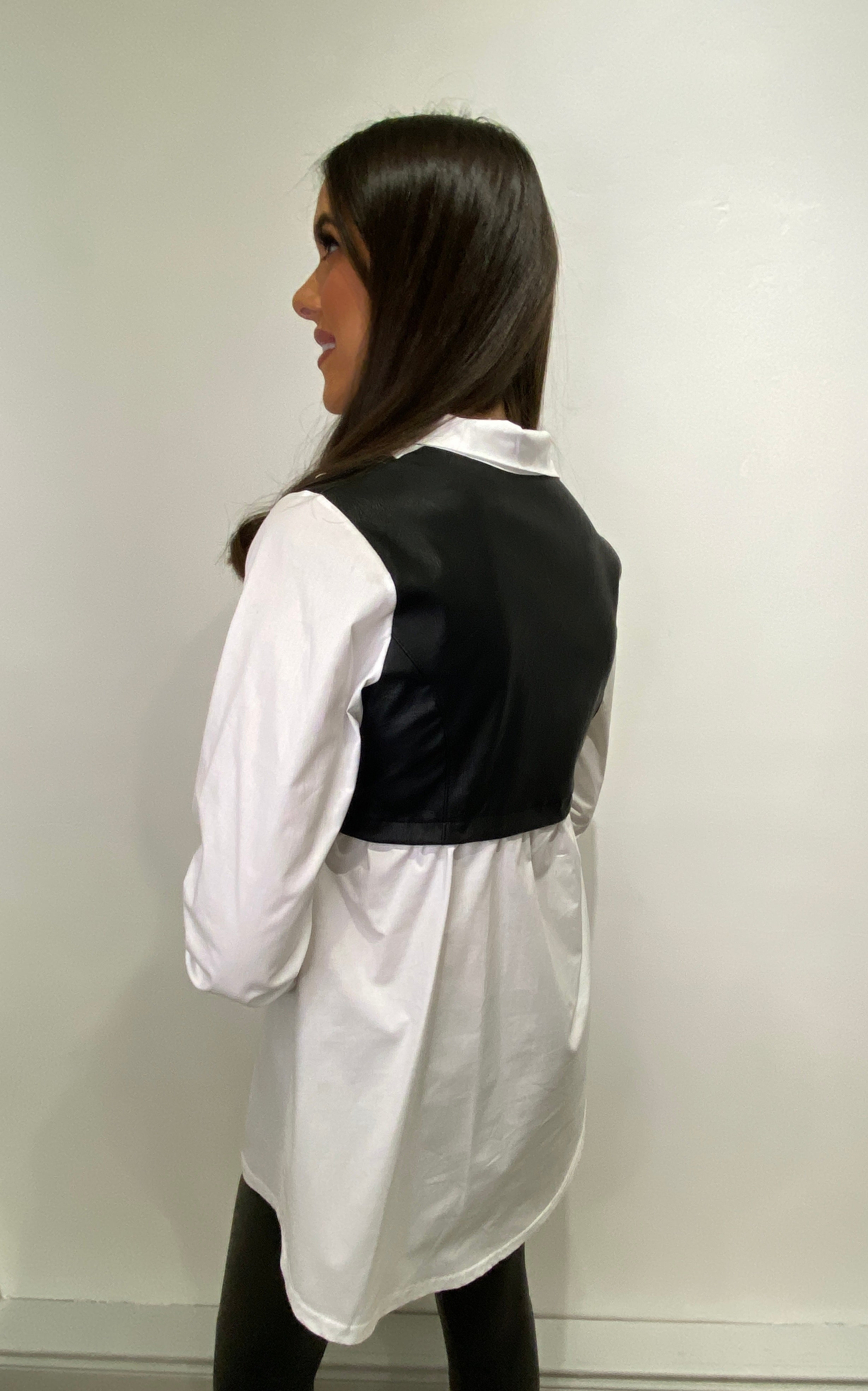 Trudy Contrast Leatherette Shirt
