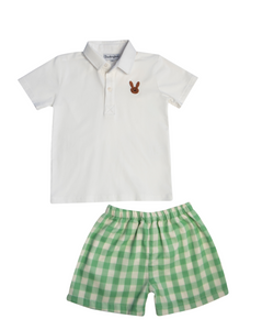 Bunny Embroidered Green Check Shorts Set