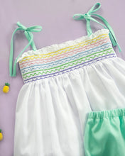 Load image into Gallery viewer, Rainbow Smocked Bloomer Set with Lace