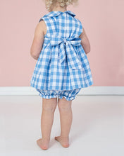 Load image into Gallery viewer, Cornflower Blue Check Bloomer Set with Sash