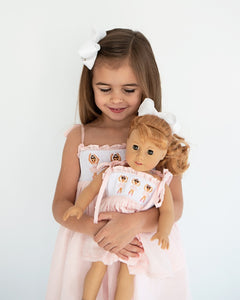 Ballerina Smocked Swiss Dot Dress for Doll