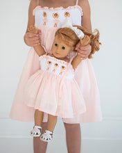 Load image into Gallery viewer, Ballerina Smocked Swiss Dot Dress for Doll